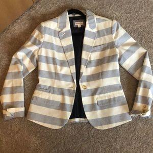 Blue and white striped casual blazer